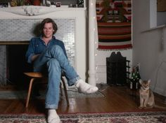 """Kevin Bacon  cat - I love the way the cat is across the room, like, """"I'm not a cuddler"""""""