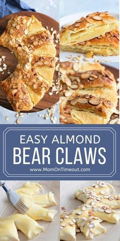 This scrumptious Bear Claw recipe is perfect for weekend brunch! So easy to make with a decadent almond filling, this delicious pastry is a gorgeous addition to your menu! // Mom On Timeout #bearclaw #pastry #almond #breakfast #brunch #baking #easy