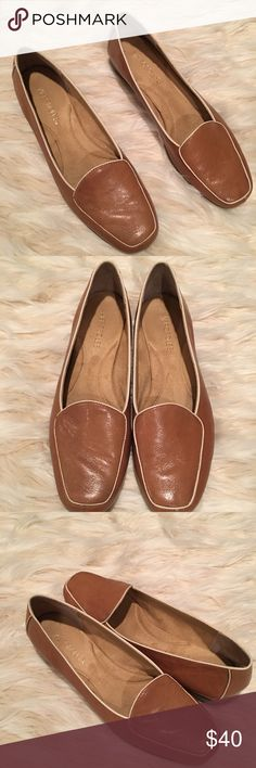New genuine leather aerosoles loafers Saddle brown buttery leather. White trim detail. New no box. AEROSOLES Shoes Flats & Loafers