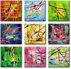 Behalve drieluik-schilderijen heeft kunstenares Ines ook negen-luik schilderijen gemaakt.Ook dit mooie kunstwerk met zijn vele mooie moderne kleuren is een werk van Ines.