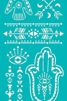 "Stencil Stencils Templates ""Hamsa, Eye, Dove, Arrows"", self-adhesive, flexible, for polymer clay, fabric, wood, glass, card making"