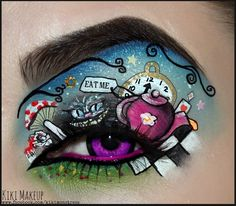 Alice in wonderland makeup art. Disney Eye Makeup, Eye Makeup Art, Eye Art, Movie Makeup, Fairy Makeup, Mermaid Makeup, Makeup Eyes, Halloween Eye Makeup, Halloween Eyes