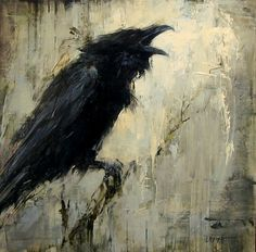 Badass crow portrait in oils by Lindsey Kustusch