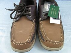 Mens Boat Shoes 10.5 Medium Solid Brown Tan Leather Thom Mcan New in Box #ThomMcan #BoatShoes