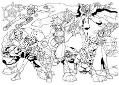The cast of Final Fantasy 7, pencils by Mike Bowden, inks by me. ~more of this guys pencils to come~