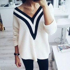 Dear Stitch Fix Stylist, I like the classic look of this sweater but the big selling point is the way it opens up at the collarbone. If it was just a standard v-neck it would loose appeal. I'm not heavy into preppy looks but this seems to be a sort of sexier version.