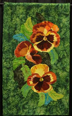 BrigitteRed1A Pansies Quilt BC Canada Just love this