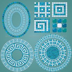 Set of Mosaic patterns - Borders Decorative More