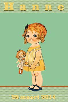 Geboortekaartje retro meisje - Vintage Paperdoll - Pimpelpluis https://www.facebook.com/pages/Pimpelpluis/188675421305550?ref=hl (# vintage - retro - kindje - popje - paperdoll - schattig - lief - origineel)