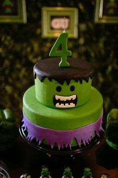 Cake from an Incredible Hulk Themed Birthday Party via Kara's Party Ideas KarasPartyIdeas.com (19)