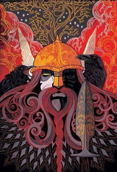 "Awesome ""Art Deco"" depiction of Odin and Huginn and Muninn....LOVE the DRAMA!!  Artist.......?????"