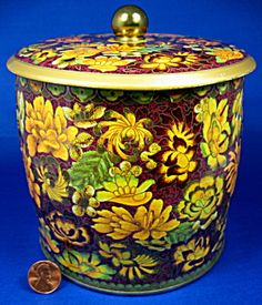 Tall Tea Tin Daher English Tea Caddy Dark Floral Autumn Mid Century (Image1)