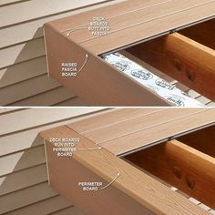 Hide Ugly Deck Board Ends – 16 Modern Deck Building Tips and Shortcuts: www.fami… Hide Ugly Deck Board Ends – 16 Modern Deck Building Tips. Deck Footings, Deck Maintenance, Deck Building Plans, Building Steps, Fascia Board, Laying Decking, Modern Deck, Deck Construction, Diy Deck