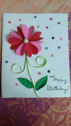Birthday Cards For Mom, Handmade Birthday Cards, Greeting Cards Handmade, Crafts For Seniors, Crafts For Kids, Mothers Day Crafts, Kids Cards, Flower Cards, Preschool Crafts