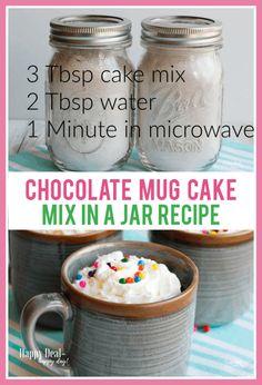Chocolate Mug Cake Mix in a Jar Recipe! in the microwave - ridiculously easy! Chocolate Mug Cake Mix in a Jar Recipe! in the microwave - ridiculously easy! Pot Mason Diy, Mason Jar Gifts, Mason Jars, Mason Jar Cakes, Easy Mug Cake, Cake Mug, Cake Mix In A Jar Recipe, Cake In A Jar, Easy Chocolate Mug Cake