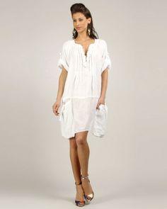 Designer : DRESSES OUTLET - WHITE PLEATED SHORT LINEN DRESS - $39 Today on Mynetsale.com.au!