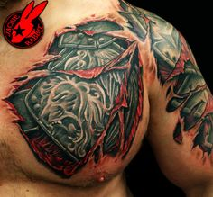 Chest tear with extension to current left bicep tat idea
