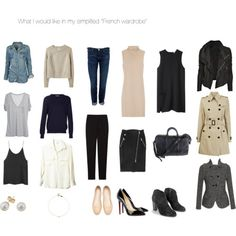Simplified French Wardrobe by Mlle Stephanie Core Wardrobe, Minimal Wardrobe, Simple Wardrobe, Classic Wardrobe, Capsule Outfits, Capsule Wardrobe, Wardrobe Sets, Wardrobe Staples, Moda Casual