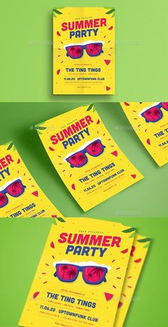 Buy Summer Event Party Flyer by guper on GraphicRiver. Spesification Psd FIle Vector Scaleable Full editable free font used CMYK 300 DPI size Event Flyer Templates, Flyer Design Templates, Print Templates, Elegant Business Cards, Cool Business Cards, Event Branding, Corporate Branding, Letterhead Template, Event Flyers
