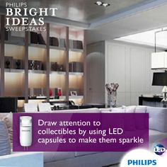 Give your built-ins and curios extra interest with accent lighting. Use clear LED capsule bulbs to create depth and enhance sparkle. With superior energy efficiency, these bulbs will last throughout this festive season and many more to come. Enter to win a $3,000 lighting makeover and get more lighting tips here: http://offerpop.com/campaign/497207. #PhilipsBrightIdeas