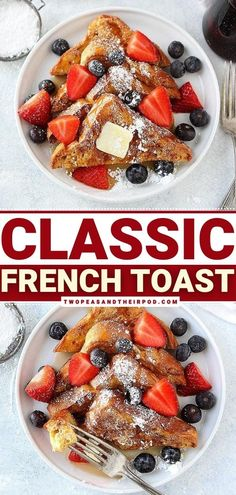 Start your morning with this classic French Toast Recipe! This light and simple breakfast recipe are easy to make and so delicious to eat. The Brioche bread is rich, buttery, and the ideal bread for french toast. Save this sweet breakfast idea! French Toast Batter, Fluffy French Toast, French Bread French Toast, Homemade French Toast, Delicious Breakfast Recipes, Brunch Recipes, Yummy Recipes, Dessert Recipes, Sweet Breakfast