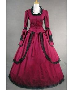 Wine Red Lace Long Trumpet Victorian Dress