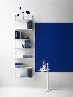 Thin Shelves, Built In Shelves, Modular Shelving, Shelving Systems, Scandinavian Furniture, Scandinavian Design, Console Shelf, String System, Furniture Inspiration