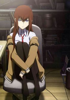 This HD wallpaper is about makise kurisu steinsgate anime girls, one person, sitting, full length, Original wallpaper dimensions is file size is Anime One, Dark Anime, Anime Art Girl, Anime Girls, Kurisu Makise, Waifu Material, Best Waifu, Tsundere, Magical Girl