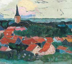 Gezicht op Domburg, Charley Toorop, 1911 Tachisme, Tag Image, Types Of Work, Dutch Painters, Klimt, Dom, Van Gogh, Landscape Paintings, Design Art