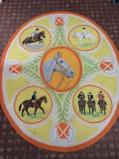 1977 Signed George Wells Hand Hooked Rug Horses   Riding   Jumping Theme