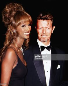 Married couple Somali-born supermodel Iman and British musician and actor David Bowie (1947 - 2016) attend the 13th Annual Council of Fashion Designers of America (CFDA) Awards, New York, New York, February 7, 1994.