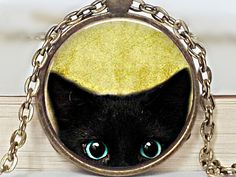Ketten lang - Katzen Medaillon Kette im Art Deco Stil retro Cabo - ein Designerstück von Mont_Klamott bei DaWanda