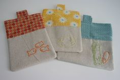 little snackers pouches. complete with wild olive embroidery pattern download.