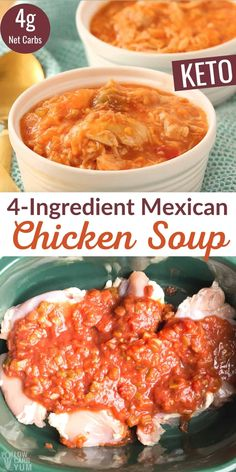 A ridiculously easy keto Mexican chicken soup for the slow cooker. With only 4 ingredients needed, this recipe is about as easy as it gets! Chicken Soup, 4 Ingredients, Keto Soup, Low Carb Soup Recipes, Slow Cooker Recipes, Crockpot, Kinds Of Soup, Mexican Chicken, Low Carb Keto