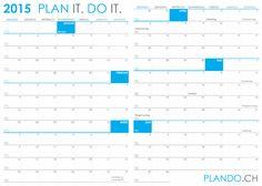 Halbjahreskalender 2015 im Querformat als PDF herunterladen und ausdrucken | PLANDO.CH #Kalender