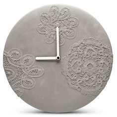 Concrete wall clock with lace pattern | hardtofind.