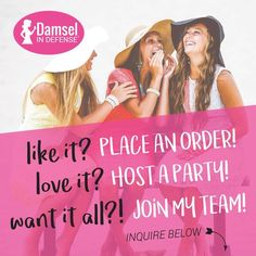You can purchase, host a party, or join my team! Damsel In Defense, Identity Protection, Grit And Grace, Pretty Tough, Host A Party, First Love, Join, Vip Group, Layering