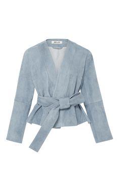 Medium diane von furstenberg blue short belted suede jacket