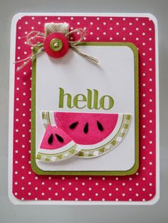 handmade card: Scrap Happens Here: Watermelon Week.... ... cute created paper watermelon wedges ... like the use of polka dot paper for main panel and rounded corners for the card and layers ...  fun, summer, informal look ... Stampin'Up!