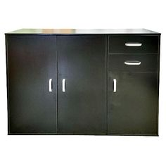 Black Sideboard Cabinet Chest Of Drawers Storage Cupboard Office Home ShelfUnit  #RedstoneOutdoors