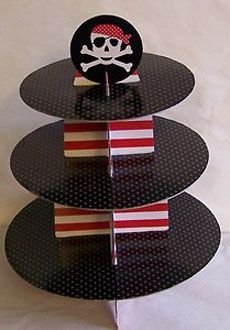 Westrim Crafts Pirate Tiered Cupcake Stand holds 12 Cupcakes NEW Pirate Food, Pirate Party Games, Pirate Party Decorations, Pirate Theme, Pirate Cupcake, Minnie Mouse Party, Mouse Parties, Mickey Mouse, Pirate Birthday