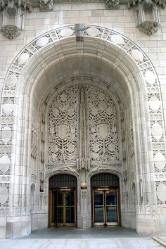 The Tribune Tower in Chicago - Gothic architecture. It has tiny pieces of other famous buildings built into it's facade and labeled for browsing.