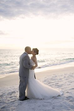 Married couple on the beach = beautiful!  Photography by nicholeburnettphotography.com/
