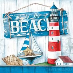 Lighthouse Gifts, Lighthouse Painting, Paper Napkins For Decoupage, Step By Step Painting, Beach Art, Painting Frames, Nautical, Paper Crafts, Canvas