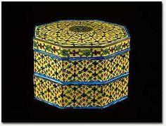 Yellow Enamel Betel Box  Klong mak thom pat  Copper and enamel Gift of King Chulalongkorn, 1876