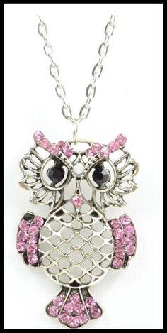 "Selling this ""Trendy Pink Owl Dangle Necklace"" in my Poshmark closet! My username is: boutiqueofthing. Owl Necklace, Rhinestone Necklace, Pendant Necklace, Trendy Jewelry, Fashion Jewelry, Antique Silver, Antique Jewelry, Pink Owl, Owl Pendant"