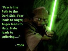 Fear Is the Path to the Dark Side. Fear Leads to Anger, Anger Leads To Hate, Hate Leads to Suffering....~ Yoda