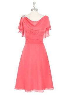 Vivebridal Women's Knee Length Chiffon Scoop Backless Mother of the Bride Dress Coral 12