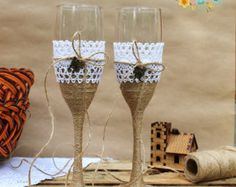 Champagne wedding glasses Bride and Groom Black and by ArtsLux