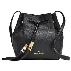 Pre-owned Kate Spade Mini Cooper Bucket: Msrp Black Cross Body Bag ($235) ❤ liked on Polyvore featuring bags, handbags, shoulder bags, black, kate spade crossbody, leather shoulder bag, bucket bag, shoulder handbags and purses crossbody